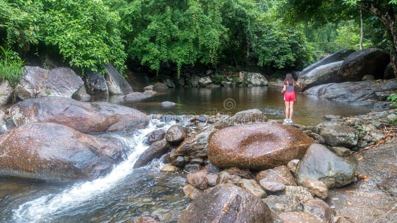 Fütterungsfische des jungen Mädchens durch den Fluss stockfotografie