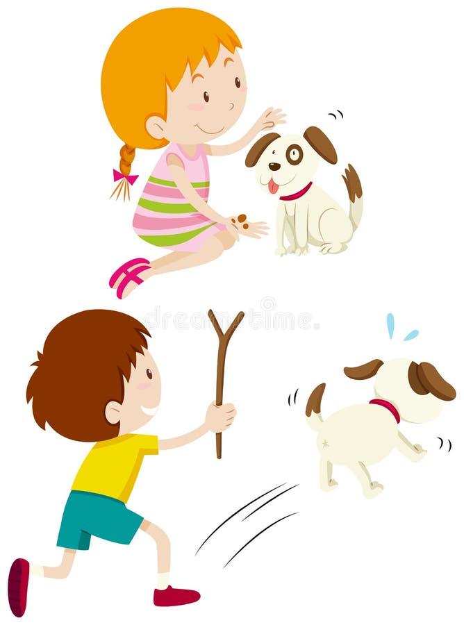 Fütterungshund und Junge des Mädchens, die Hund jagen lizenzfreie abbildung