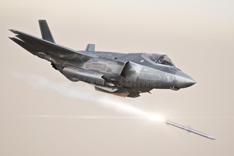 F-35 выдвинуло военный самолет фиксируя на цели и увольняя ` s ракеты иллюстрация вектора