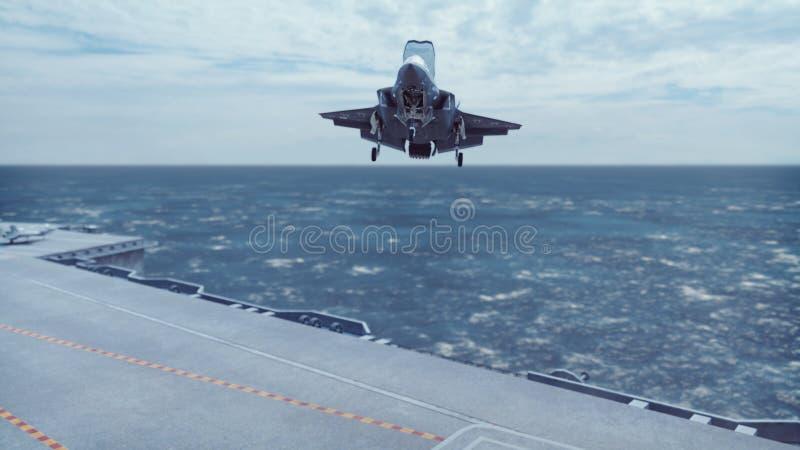 F-35战斗机垂直从航空母舰离开 3d?? 库存图片
