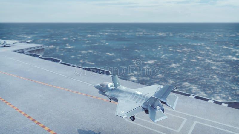 F-35战斗机垂直从航空母舰离开 3d?? 免版税库存照片