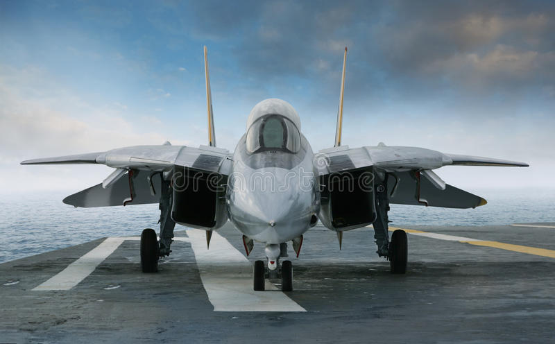 F 14 Tomcat jet fighter on a carrier deck stock photography
