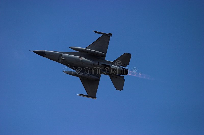 F-16 Afterburner. During take off for the presentation on the national holiday stock image