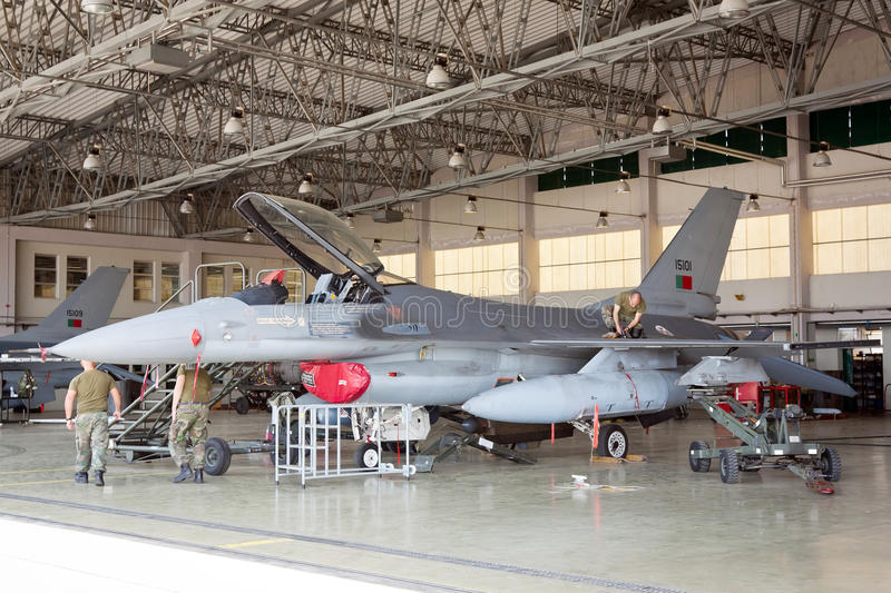 F-16 on hangar for maintenance. MONTE REAL, PORTUGAL-APRIL 7: F-16 Portuguese on hangar for maintenance on April 7,2011 in Monte Real, Portugal royalty free stock images