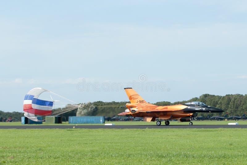 F-16 solo della squadra della visualizzazione del Dutch fotografie stock libere da diritti