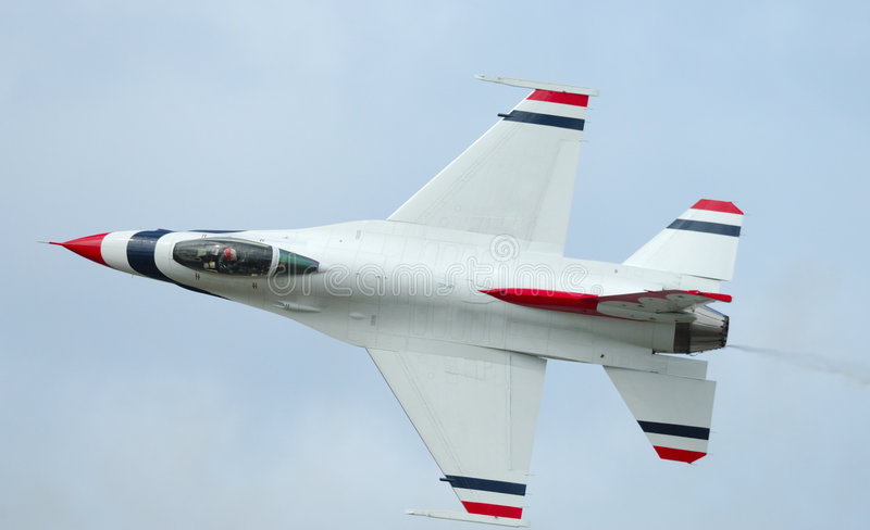 F-16 solo of Thunderbirds. Arctic Thunder airshow 2008 - Anchorage - Alaska - USA royalty free stock photography