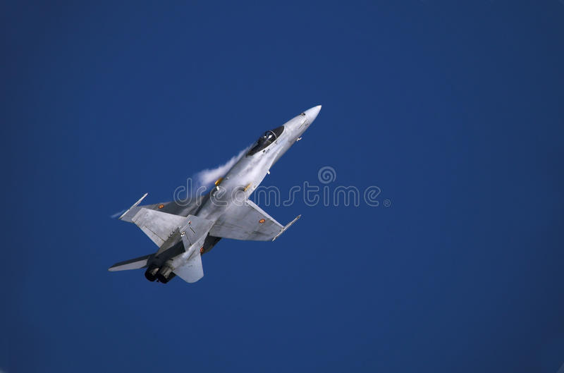 F/A-18 hornet. F-18 soaring into the sky shortly after take off stock photo