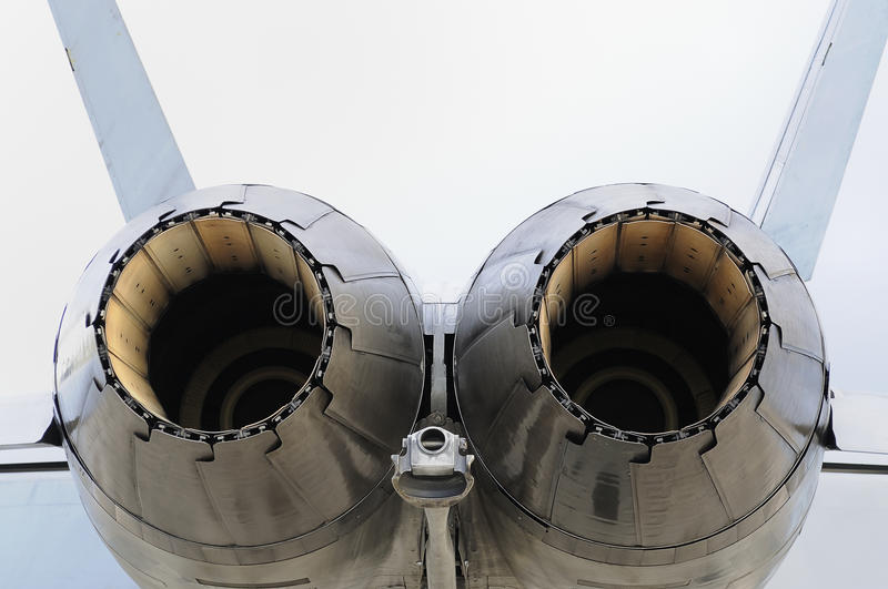 F/A-18 Hornet Engines. A close up view of the engines of a F/A-18 Hornet royalty free stock image