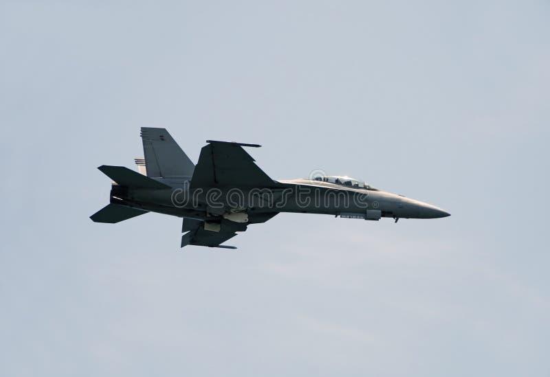 F/A-18 hornet jet fighter. Modern fighter jet in flight royalty free stock images