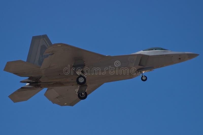 F-22 Raptor. An F-22 Raptor returns to Nellis stock photography