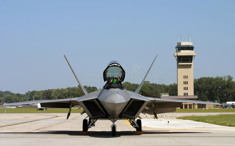 F-22 Raptor. An f-22 Raptor Stealth Fighter getting ready for take off royalty free stock photo