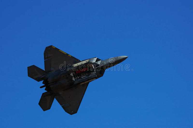 F-22 Raptor. Image of F-22 Raptor during airshow royalty free stock photography