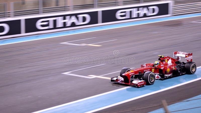 F1 2013 Abu Dhabi - Ferrari 01. Abu Dhabi, United Arab Emirates. 3rd Nov, 2013: Felipe Massa of Brazil and Ferrari drives during the Formula 1 Abu Dhabi Grand stock image