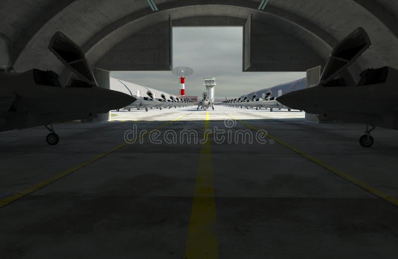 F 35, aereo di combattimento militare americano Base di Militay, capannone, bunker immagine stock libera da diritti