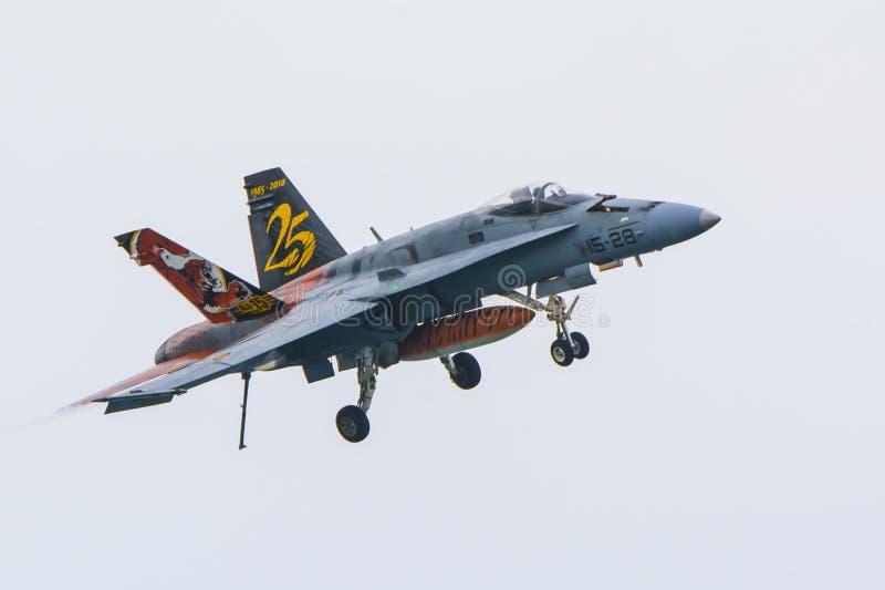F18, Alá 15, força aérea espanhola fotografia de stock