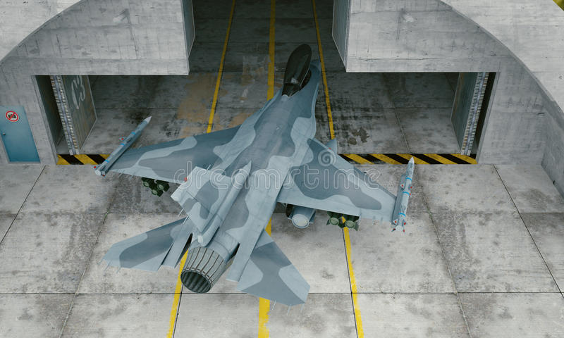 F 16 , american military fighter plane. Military base, hangar, bunker stock illustration