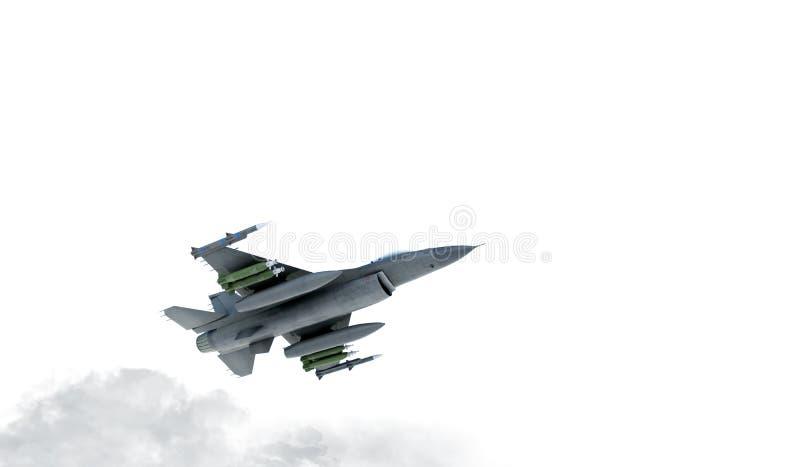 F -16, amerikanisches Militärkampfflugzeug Jet Plane Fliege in den Wolken stock abbildung