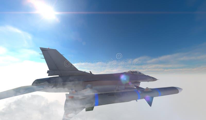 F -16, amerikansk militär kämpenivå Jet Plane Fluga i moln royaltyfri illustrationer