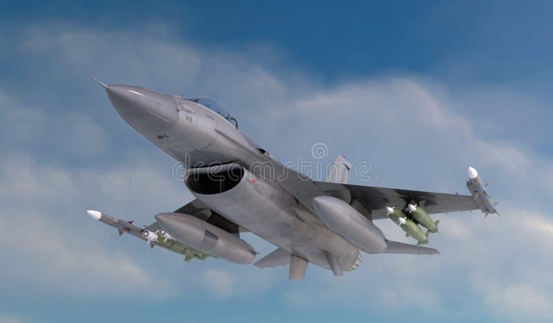 F -16, amerykański militarny samolot szturmowy Dżetowy samolot Komarnica w chmurach fotografia stock
