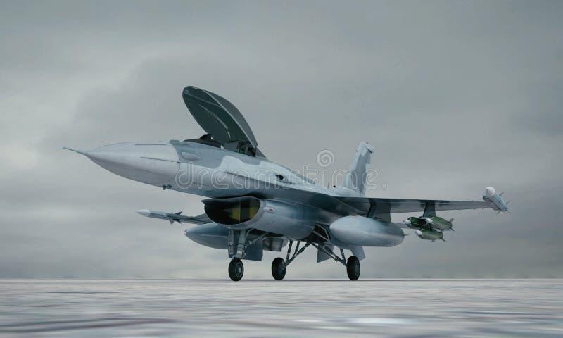 F 16, amerykański militarny samolot szturmowy Militarna baza zdjęcie royalty free