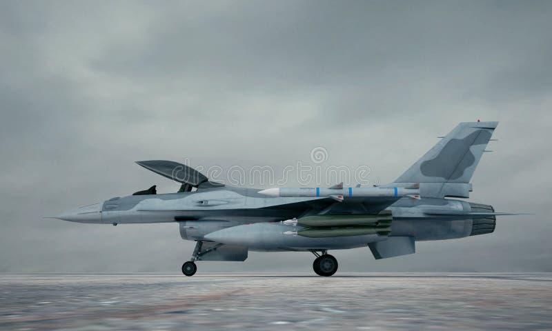 F 16, amerykański militarny samolot szturmowy Militarna baza ilustracja wektor
