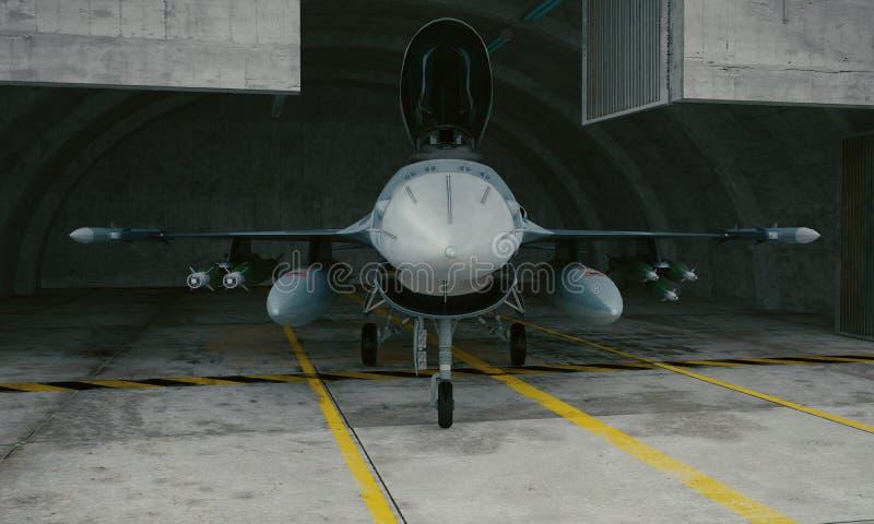 F 16, amerykański militarny samolot szturmowy Militarna baza, hangar, bunkier zdjęcie stock