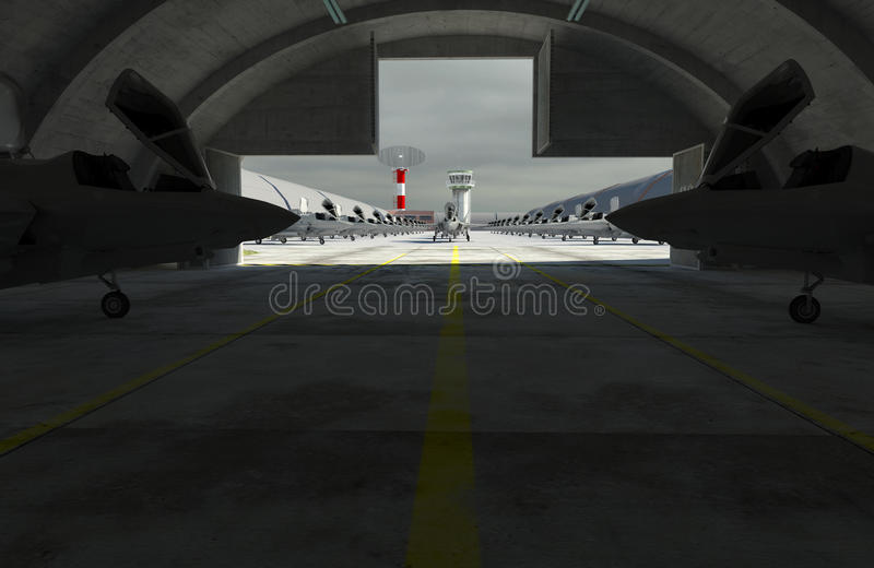 F 35, amerykański militarny samolot szturmowy Militay baza, hangar, bunkier obraz royalty free