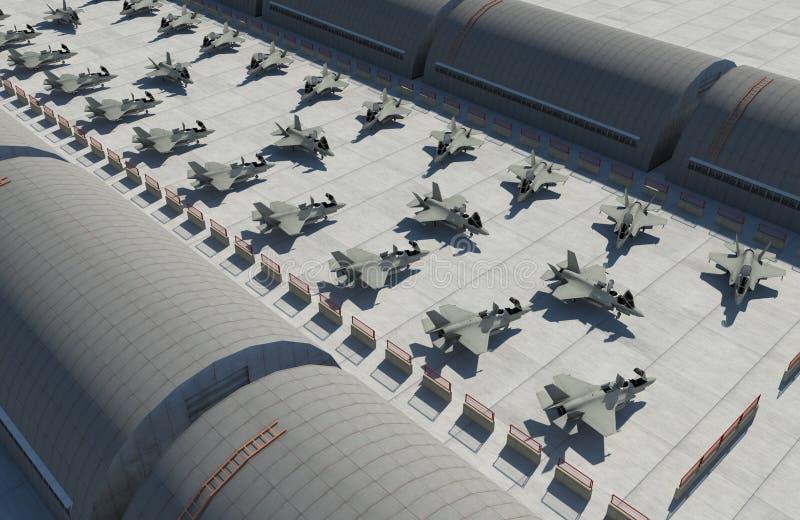 F 35, amerykański militarny samolot szturmowy Militay baza, hangar, bunkier fotografia royalty free