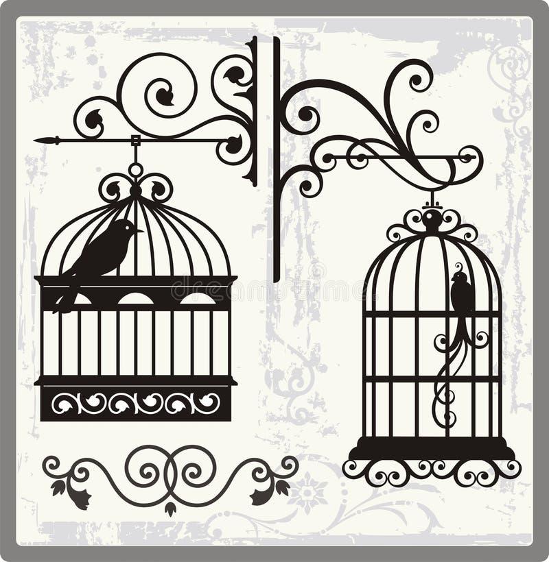 fågeln cages tappning vektor illustrationer