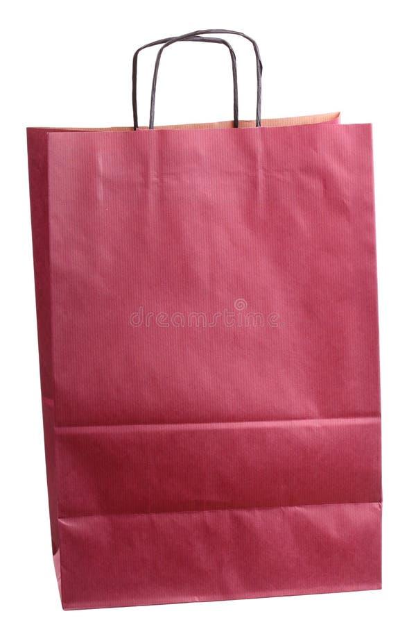 färgad gåva isolerad shopping för påse claret royaltyfri fotografi