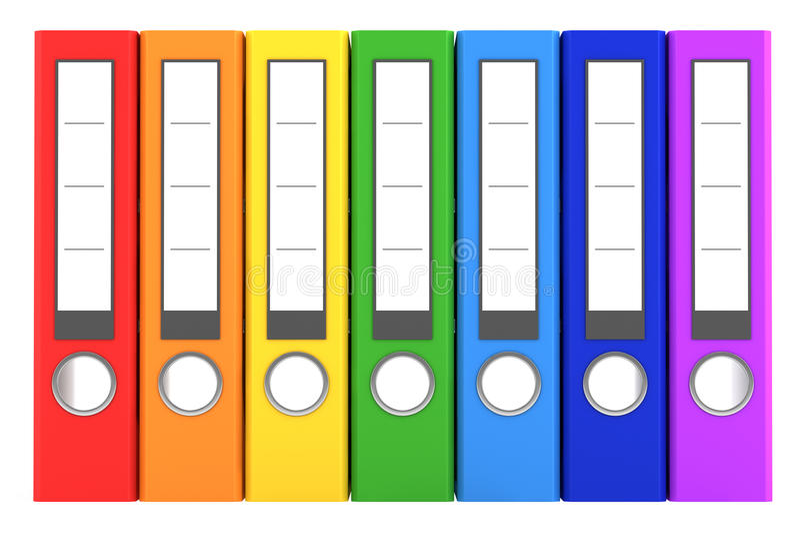 färgmappmappar isolerade white för regnbåge sju royaltyfri illustrationer