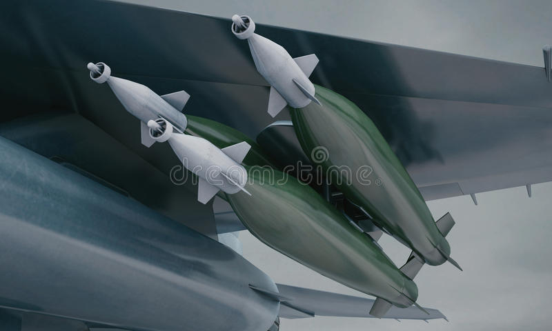 F 16, avião de combate militar americano Base militar ilustração do vetor