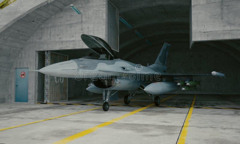 F 16, avião de combate militar americano Base militar, hangar, depósito ilustração stock