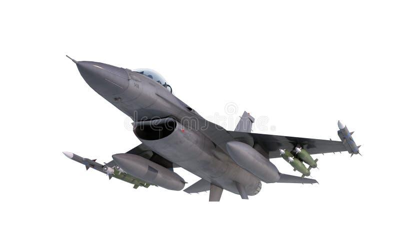 F -16, avião de combate militar americano Jet Plane Mosca nas nuvens ilustração do vetor