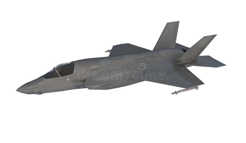 F 35, avião de combate militar americano Jet Plane Mosca nas nuvens ilustração do vetor