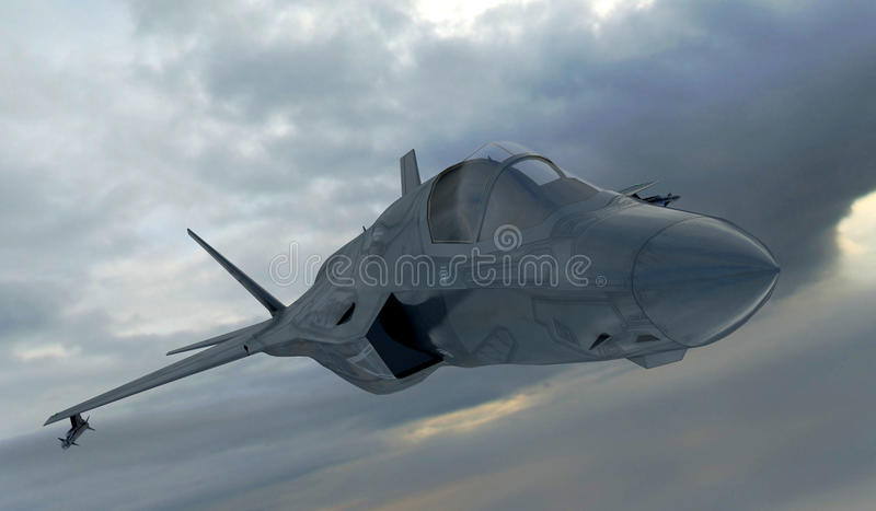 F 35, avião de combate militar americano Jet Plane Mosca nas nuvens ilustração royalty free