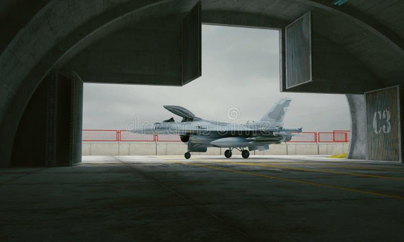F-16, avion de combat militaire américain Base militaire, hangar, soute illustration stock