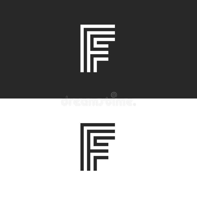 F brief, het embleem van de monogramidentiteit, minimaal het ontwerpelement van de stijl lineair typografie, modieus zwart-wit li royalty-vrije illustratie