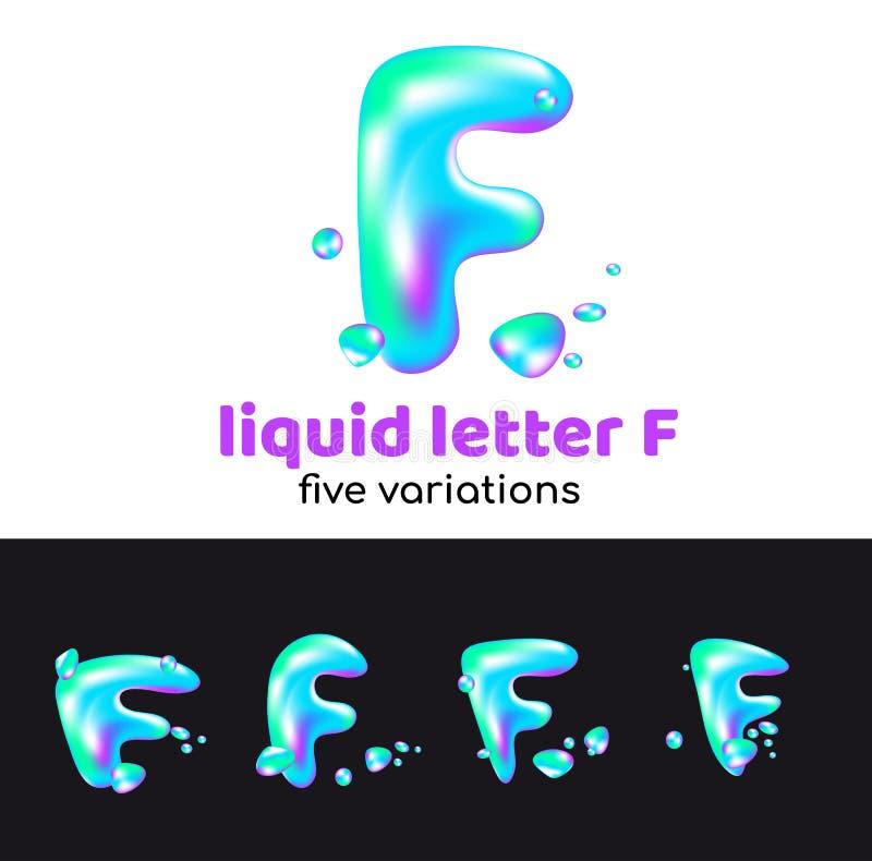 F-Buchstabe ist ein Aqualogo Flüssiger volumetrischer Buchstabe mit Tröpfchen und Sprays für die Unternehmensart der Firma oder d lizenzfreie abbildung