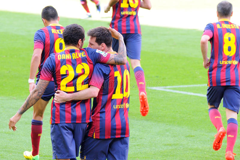 F.C. Barcelona footballers celebrate a goal against Getafe Club de Futbol at the Camp Nou Stadium on the Spanish League. BARCELONA - MAY 03: F.C. Barcelona royalty free stock images