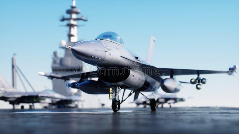 F16 do jato, lutador no porta-aviões no mar, oceano Conceito da guerra e da arma rendição 3d ilustração do vetor