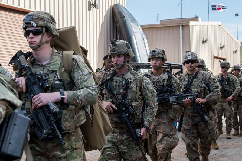 190102-F-EY126-0029. U.S. Soldiers assigned to the East Africa Response Force & x28;EARF& x29;, deployed in support of Combined Joint Task Force-Horn of Africa stock photography