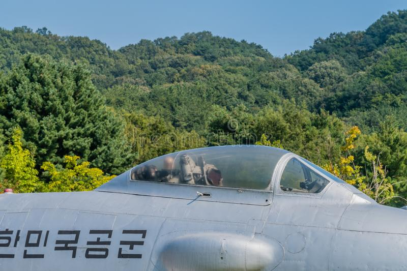 F-86F Sabre cockpit canopy. Daejeon, South Korea; September 29, 2019: Closeup of cockpit canopy of North American Aviation F-86F Sabre jet aircraft on display in stock image