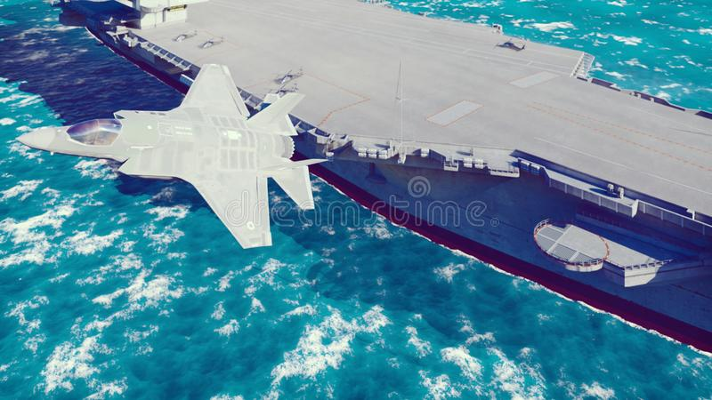 F-35 fighter takes off vertically from the aircraft carrier. 3D Rendering. F-35 fighter takes off vertically from the aircraft carrier vector illustration