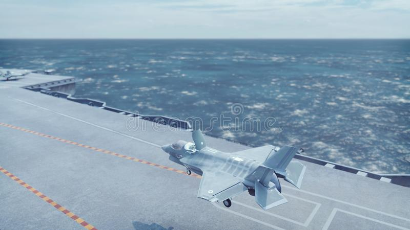 F-35 fighter takes off vertically from the aircraft carrier. 3D Rendering. F-35 fighter takes off vertically from the aircraft carrier royalty free illustration