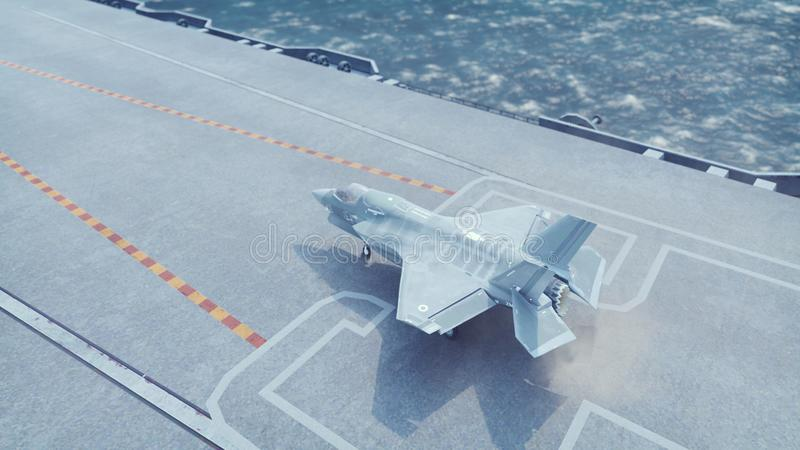 F-35 fighter takes off vertically from the aircraft carrier. 3D Rendering. F-35 fighter takes off vertically from the aircraft carrier stock illustration