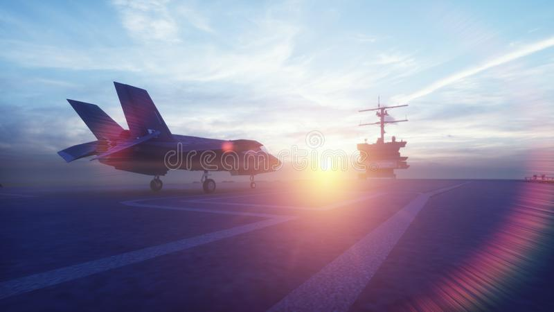 F-35 fighter takes off vertically from the aircraft carrier at sunrise. 3D Rendering. F-35 fighter takes off vertically from the aircraft carrier at sunrise stock illustration