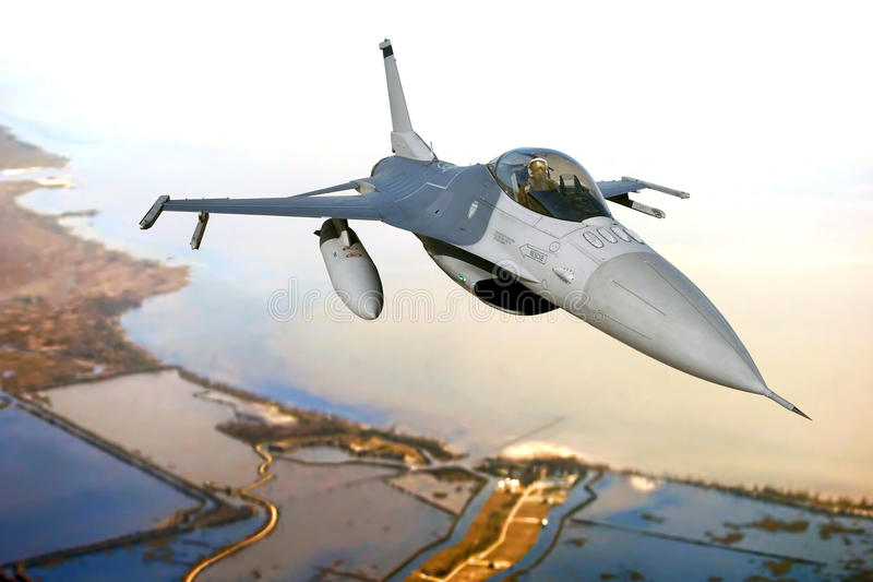 F-16 Fighting Falcon Fighter Plane in Flight stock photography