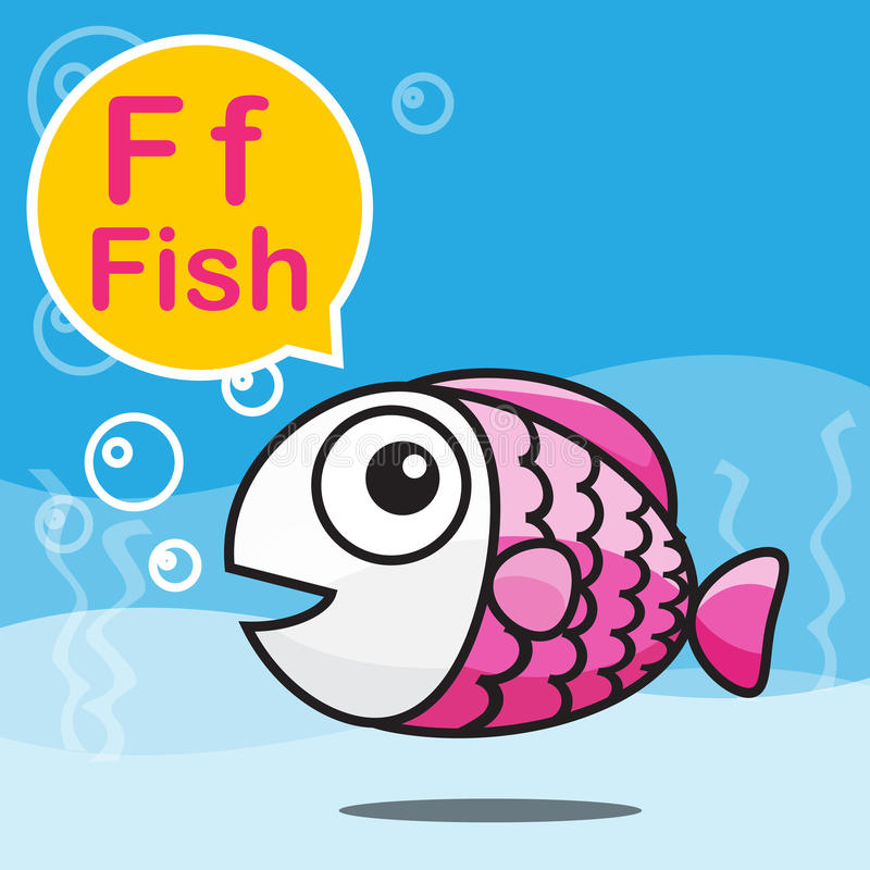 F Fish Color Cartoon And Alphabet For Children To Learning Vecto ...