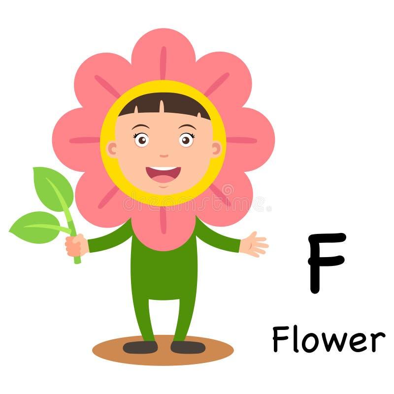 F-flor da letra do alfabeto ilustração do vetor
